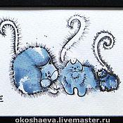 Картины и панно ручной работы. Ярмарка Мастеров - ручная работа Синие коты. Handmade.
