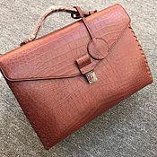 Сумки и аксессуары handmade. Livemaster - original item Briefcase men`s classic, crocodile leather, in Burgundy.. Handmade.