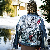 Одежда handmade. Livemaster - original item Denim jacket with Vikings print. Moto jacket.. Handmade.