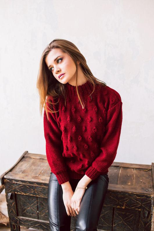"""Кофты и свитера ручной работы. Ярмарка Мастеров - ручная работа. Купить свитер """"пупырки"""". Handmade. Бордовый, Пупырышки, вязание спицами"""