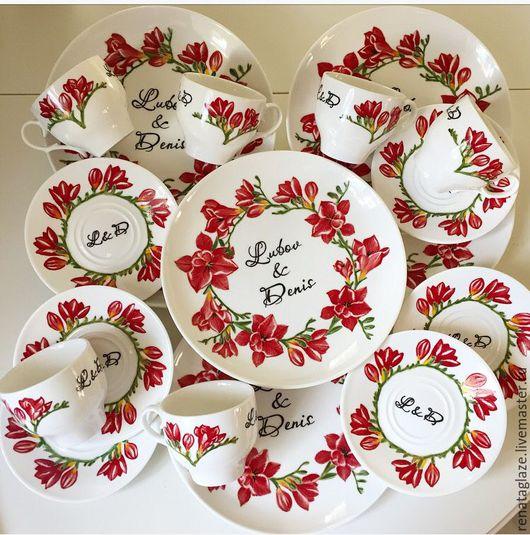 Сервизы, чайные пары ручной работы. Ярмарка Мастеров - ручная работа. Купить Роспись фарфора именной свадебный сервиз Фрезии. Handmade.