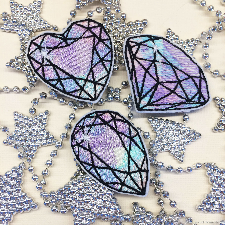 """Аппликации, вставки, отделка ручной работы. Ярмарка Мастеров - ручная работа. Купить Нашивка """"бриллиант"""". Handmade. Аппликация, подарок, алмаз"""