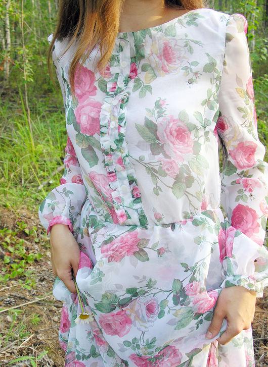 """Платья ручной работы. Ярмарка Мастеров - ручная работа. Купить Платье из вуали """"La Vie En Rose"""" с эффектом акварели. Handmade."""