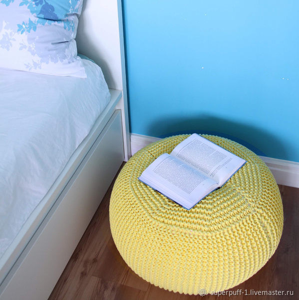 Puffs and puffs: yellow knitted puffer from Superpuff, Ottomans, Moscow,  Фото №1