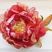 Заколки ручной работы. Ярмарка Мастеров - ручная работа Заколка автомат цветок Красный пион украшение для волос. Handmade.