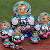 Русский стиль ручной работы. Ярмарка Мастеров - ручная работа матрешка 10 мест голубая. Handmade.