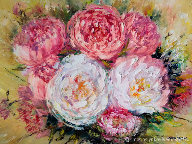 Oil painting on canvas. Peonies. Flowers, Pictures, Alicante,  Фото №1