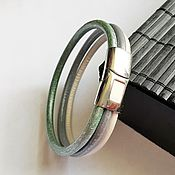 """Украшения ручной работы. Ярмарка Мастеров - ручная работа Кожаный браслет """"Перламутр"""", кожа, сталь. Handmade."""