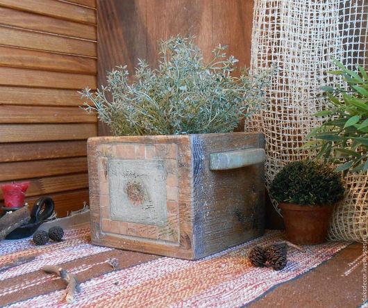 Старый короб из сосны с мозаичной плиткой. Кашпо для цветов. Короб для специй и трав. Кантри стиль в интерьере. `LedaksDecor` -для уютного дома!