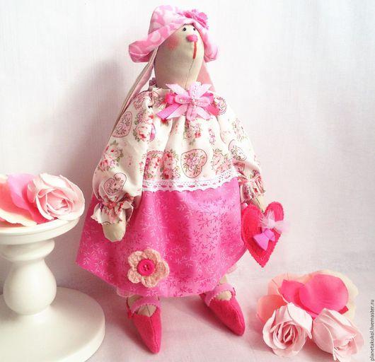 Куклы Тильды ручной работы. Ярмарка Мастеров - ручная работа. Купить Зайка  Розовый бутончик заяц розовый. Handmade. Розовый