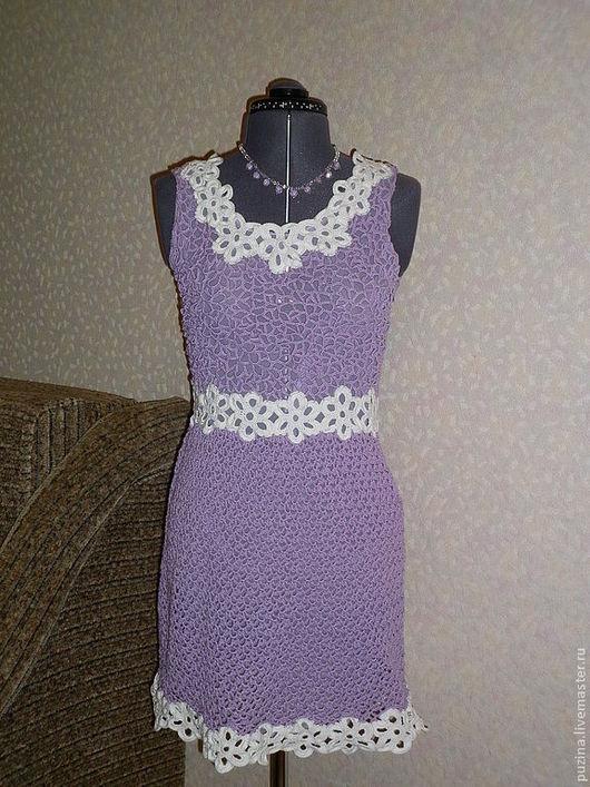 Платья ручной работы. Ярмарка Мастеров - ручная работа. Купить Сиреневое платье. Handmade. Сиреневый, хлопок