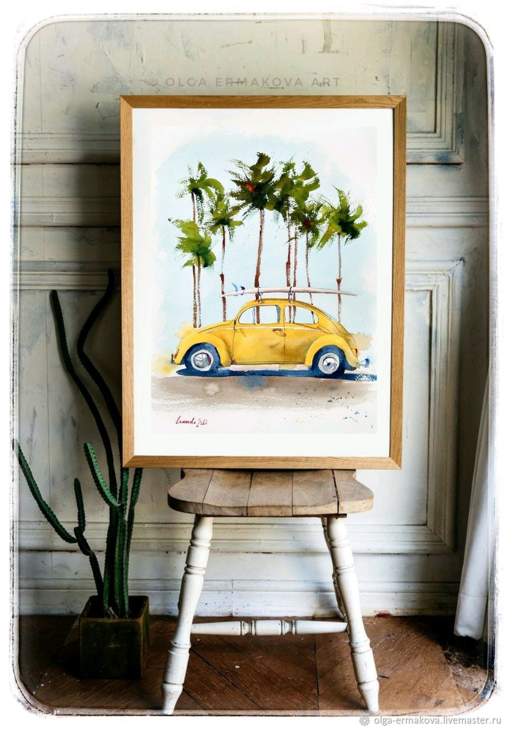 Retro car yellow and palm trees in a watercolor painting in modern, Pictures, Moscow,  Фото №1