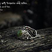 Украшения ручной работы. Ярмарка Мастеров - ручная работа кольцо с бирюзой и секретом. Handmade.