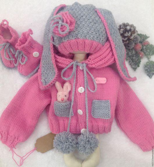 """Одежда для кукол ручной работы. Ярмарка Мастеров - ручная работа. Купить """"Милый заяц"""" одежда для кукол. Handmade. Серый, пуговка"""