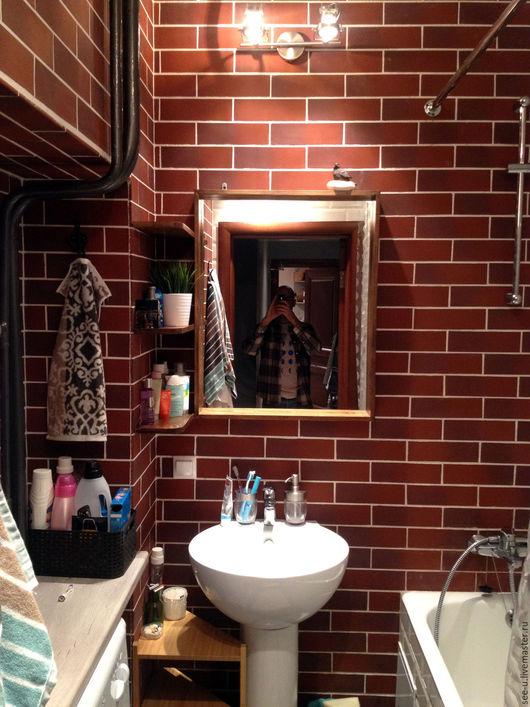 Зеркала ручной работы. Ярмарка Мастеров - ручная работа. Купить Лофт зеркало в деревянной раме с полочками для ванной. Handmade. Комбинированный