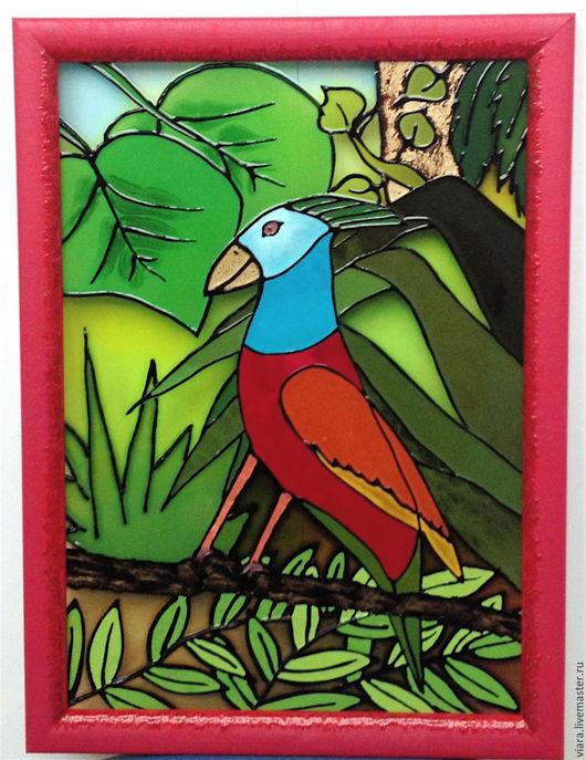 Детская ручной работы. Ярмарка Мастеров - ручная работа. Купить Папугай. Handmade. Комбинированный, Роспись по стеклу, декор для детской