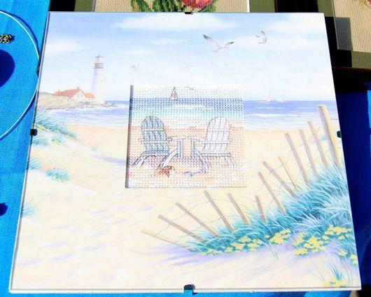 Пейзаж ручной работы. Ярмарка Мастеров - ручная работа. Купить Лето, море, пляж. Handmade. Голубой, картина пейзаж, море