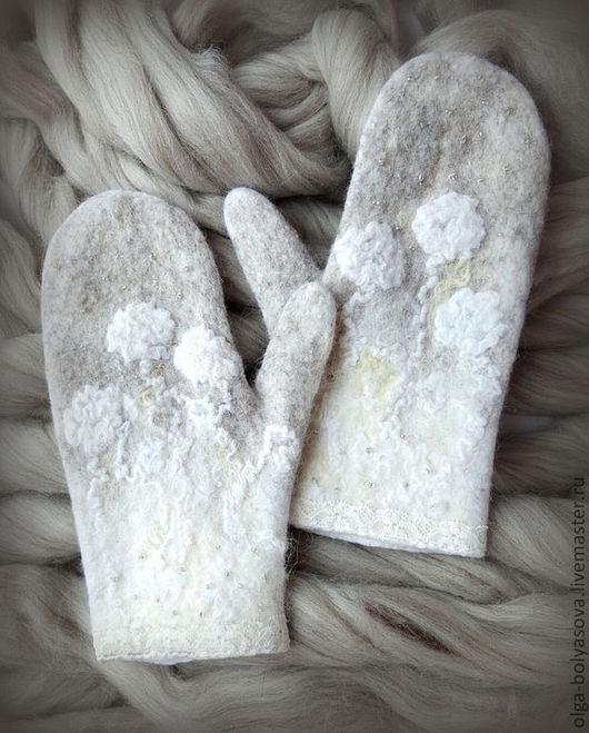 """Варежки, митенки, перчатки ручной работы. Ярмарка Мастеров - ручная работа. Купить Варежки """"Зимушка"""". Handmade. Белый, волокна вискозы"""