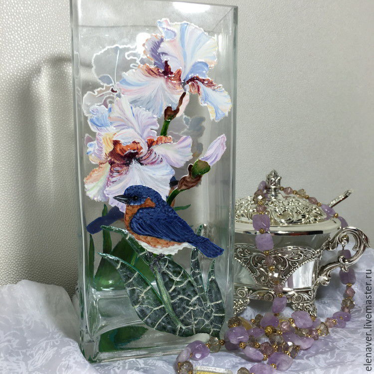 Стеклянная ваза для цветов Льдинка  витражная роспись