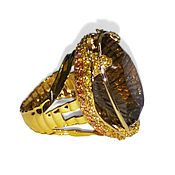 Украшения handmade. Livemaster - original item Gold ring with sapphires Wine Topaz in Yellow Gold 585. Handmade.