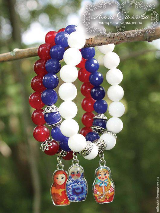 Набор браслетов из натурального агата ручной работы. Авторские браслеты из натуральных камней.