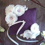 Свадебный салон ручной работы. Ярмарка Мастеров - ручная работа Подушечка для колец фиолетовый лён. Handmade.