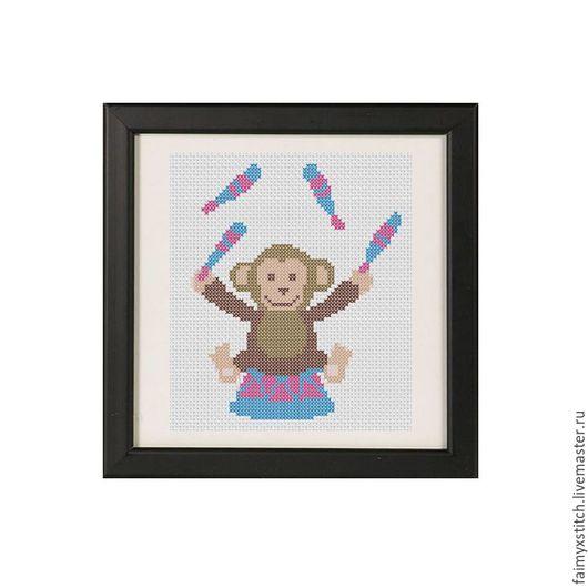 """Вышивка ручной работы. Ярмарка Мастеров - ручная работа. Купить Схема для вышивки крестом """"Обезьянка в цирке"""". Handmade. Фиолетовый"""
