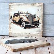 """Картины ручной работы. Ярмарка Мастеров - ручная работа Комплект панно на стену """"Ретро авто"""",  деревянные панно. Handmade."""