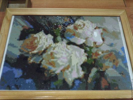 Картины цветов ручной работы. Ярмарка Мастеров - ручная работа. Купить Чайные розы. Handmade. Комбинированный, алмазная живопись