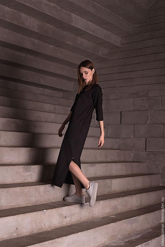 Платья ручной работы. Ярмарка Мастеров - ручная работа. Купить Платье черное длинное. Handmade. Черный, платье длинное в пол