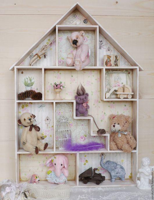 Домик для Тедди, кукольный домик, румбокс, домик-полка от Сороки.