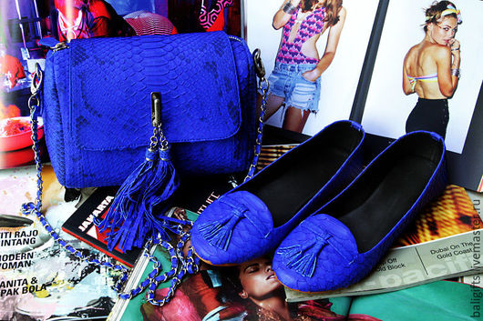 Стильный комплект сумока и лоферы из натуральной кожи питона синего цвета