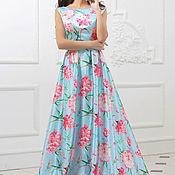 Одежда ручной работы. Ярмарка Мастеров - ручная работа Вечернее платье с цветочным принтом. Handmade.