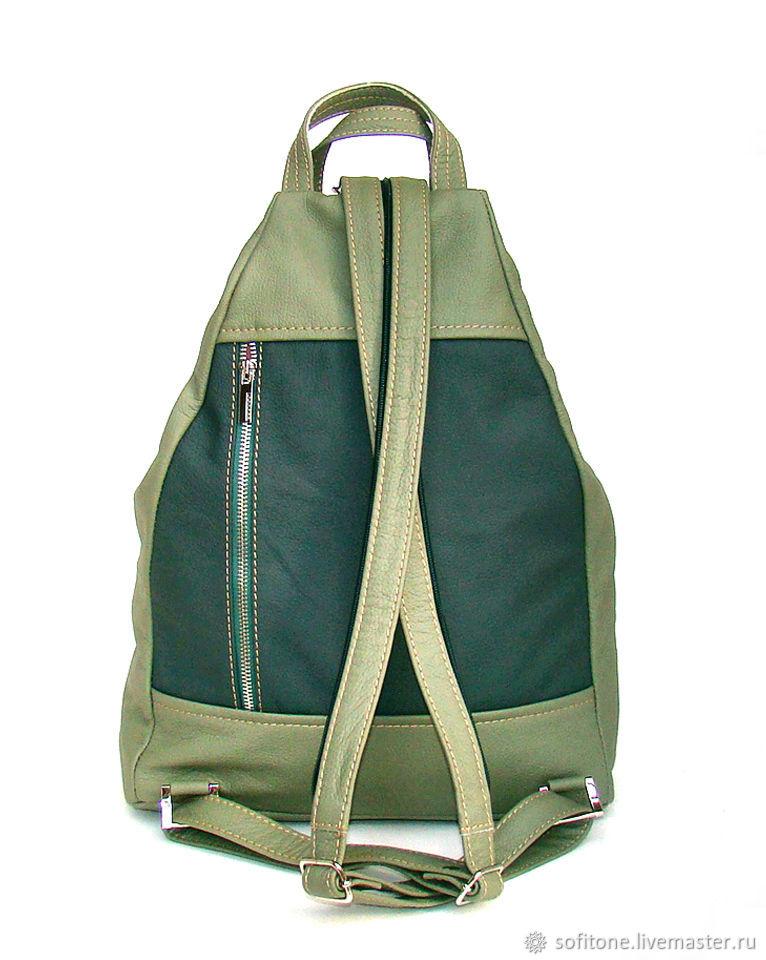 414cde5f0cca Рюкзак кожаный Зеленый с оливковым. SofiTone. Ярмарка Мастеров. Городской  ...