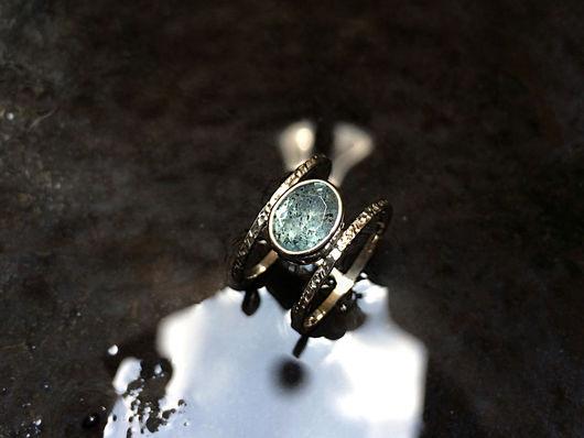 Кольца ручной работы. Ярмарка Мастеров - ручная работа. Купить Единственное двойное серебряное кольцо с натуральным аквамарином. Handmade. Голубой