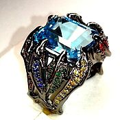 Украшения handmade. Livemaster - original item Poseidon`s Kingdom ring with blue Topaz. Handmade.