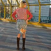 Одежда ручной работы. Ярмарка Мастеров - ручная работа Джинсовый дизайн Котик и пайетки. Handmade.