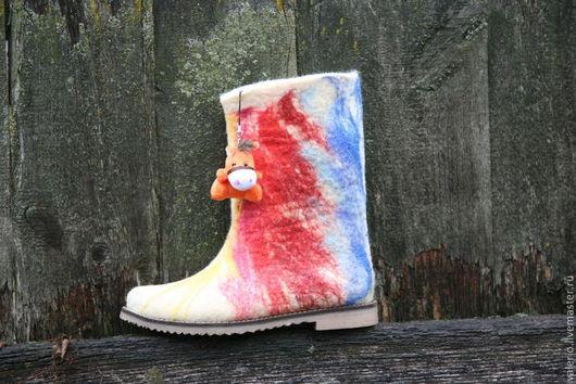 Обувь ручной работы. Ярмарка Мастеров - ручная работа. Купить Лошарик. Handmade. Валенки ручной валки, валенки на подошве
