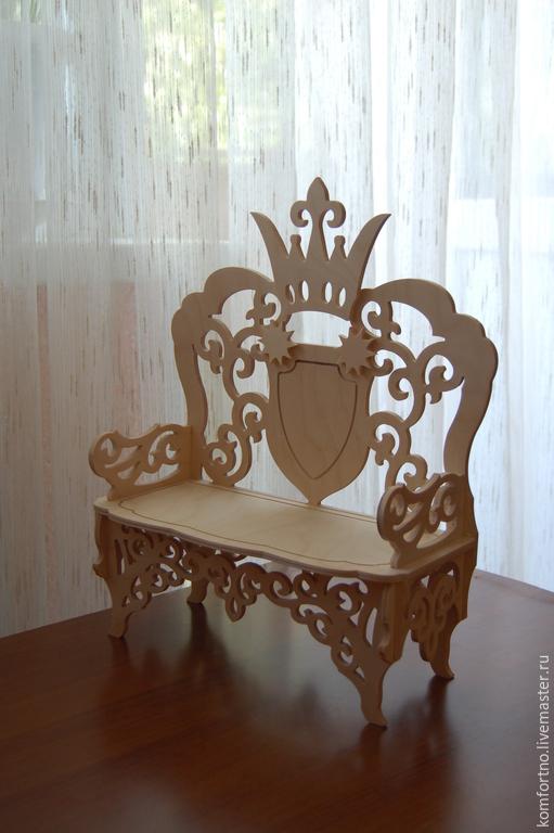 Кукольный диванчик - трон 886. Заготовка для декупажа и росписи.