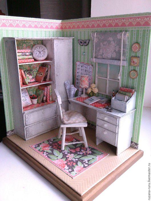 """Кукольный дом ручной работы. Ярмарка Мастеров - ручная работа. Купить Румбокс """"Кабинет учителя"""". Handmade. Кукольная миниатюра"""