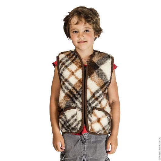 Одежда унисекс ручной работы. Ярмарка Мастеров - ручная работа. Купить Детский жилет, шерсть Мериноса Британия. Handmade. Шерсть