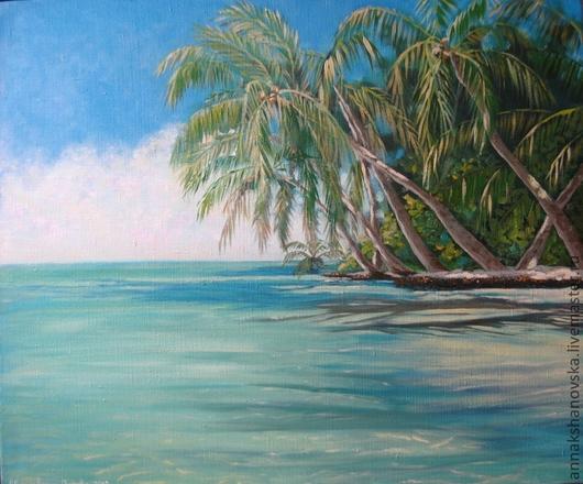 """Пейзаж ручной работы. Ярмарка Мастеров - ручная работа. Купить Картина """"Баунти"""". Handmade. Бирюзовый, море, баунти, остров"""