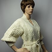 Одежда handmade. Livemaster - original item Knitted classic cardigan with belt. Handmade.
