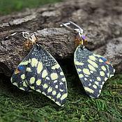 Украшения handmade. Livemaster - original item Butterfly earrings leather
