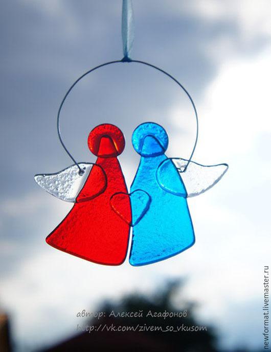 """Новый год 2017 ручной работы. Ярмарка Мастеров - ручная работа. Купить Стеклянные Ангелочки  """"Обнимашки"""". Handmade. Ярко-красный, ангел"""
