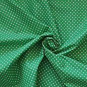 Материалы для творчества ручной работы. Ярмарка Мастеров - ручная работа Хлопок зеленый в белый горох. Handmade.
