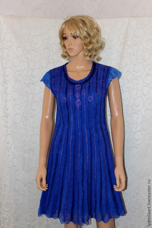 Платья ручной работы. Ярмарка Мастеров - ручная работа. Купить Платье валяное нунофелт  « Королевский синий». Handmade.