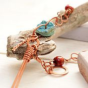 Украшения handmade. Livemaster - original item copper boho necklace with genuine agate and wooden beads. Handmade.