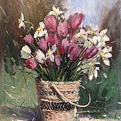 Картины и панно ручной работы. Ярмарка Мастеров - ручная работа Тюльпаны в корзине. Handmade.