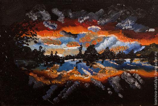 Пейзаж ручной работы. Ярмарка Мастеров - ручная работа. Купить рассвет на озере. Handmade. Черный, ночь, холст, масляные краски